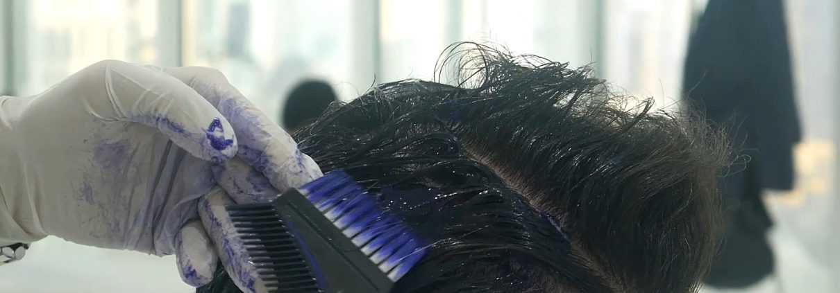Applying the solution for the Keratin Hair Treatment