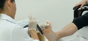 Foot Scrubbing in Foot Spa SKILLS Dubai Barbershop